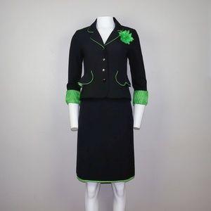 Signature by Sangria Skirt Suit Set Black